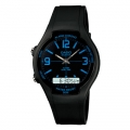 CASIO AW-90H-2B ANALOG DIGITAL COMBINATION DUAL TIME BLACK BLUE WATCH